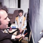 Cartoonist Gerald Scarfe sketches Ringo Starr in 1967, drawing directly onto the wall of Ringo's gameroom