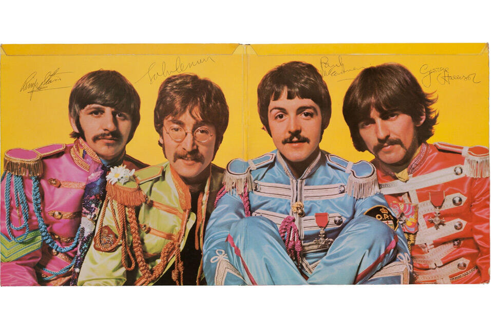"Autographed copy of Beatles' ""Sgt. Pepper's LHCB"""