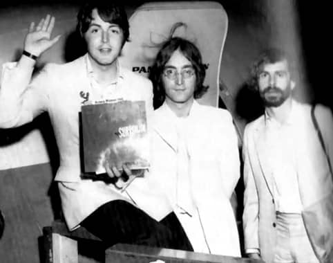 Magic Alex Mardas with Paul McCartney and John Lennon in 1968