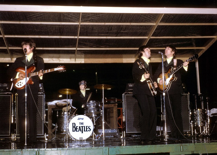 The Beatles at the Busch Stadium in St Louis, Missouri