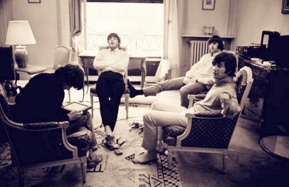 The Beatles resting in hotel