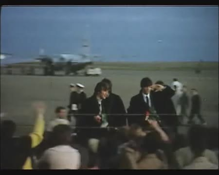The Beatles arriving at Wellington airport in NZ