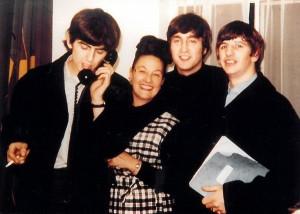 Binny Lum with George, John and Ringo, April 1964